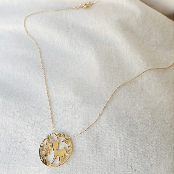 Collier 4 saisons médaille Automne sur chaine en plaqué or - Bijoux fins et fantaisies