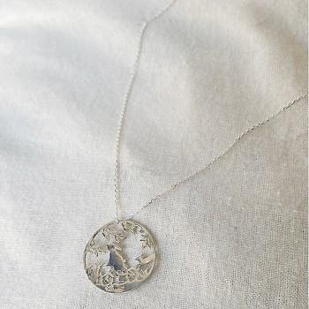 Collier 4 saisons médaille été sur chaine en argent - Bijoux fins et fantaisies