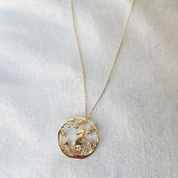 Collier 4 saisons médaille été sur chaine en plaqué or - Bijoux fins et fantaisies