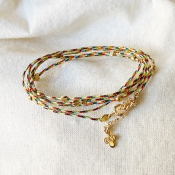 Bracelet lien multicolore perles en plaqué or - Bijoux fins et fantaisies originaux