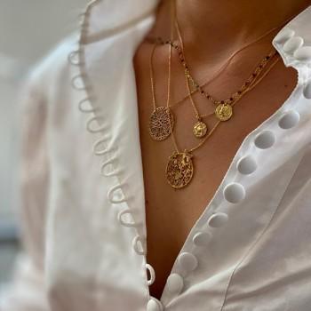 Collier plaqué or sur chaine en rubis soizite et pièce de monnaie - Bijoux fins et fantaisies tendances