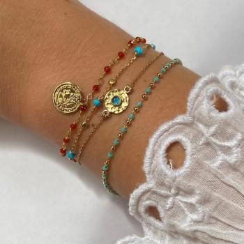 Bracelet chaine plaqué or pierre cornaline médaille pièce de monnaie - Bijoux fins et tendances