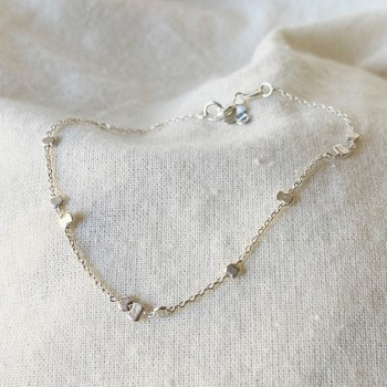 Bracelet sur chaîne en argent et perles à écraser aléatoires - Bijoux fins et intemporels