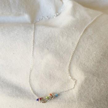 Collier anneaux perlés multicolores sur chaine en argent - Bijoux fins et originaux