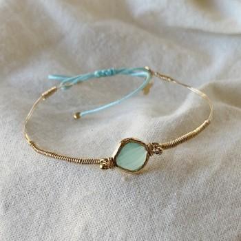Le jonc Alice plaqué or monté sur fil d'or sertie médaille bleue turquoise - Bijoux fins et originaux