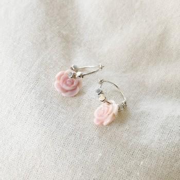 Créoles en argent avec perles facettées pendentif rose - Bijoux fins et fantaisies