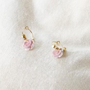 Créoles en plaqué or avec perles facettées pendentif rose - Bijoux fins et fantaisies