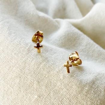 Boucles d'oreilles puce croix en plaqué or - Bijoux fins de créateur
