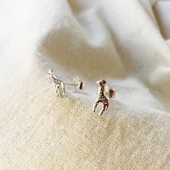 Boucles d'oreilles puce girafe en argent - Bijoux fins de créateur