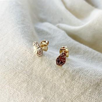Boucles d'oreilles puce poupée russe matriochka en plaqué or - Bijoux fins de créateur
