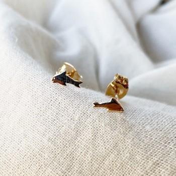 Boucles d'oreilles puce dauphin en plaqué or - Bijoux de créateur