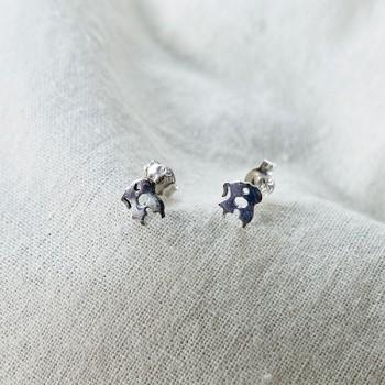 Boucles d'oreilles puce amoureux en argent - Bijoux fins de créateur