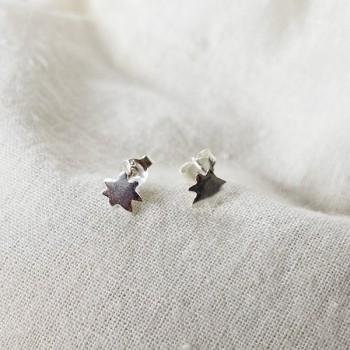 Boucles d'oreilles puce feuille en argent - Bijoux fins de créateur