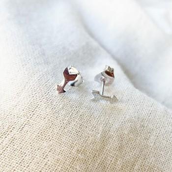 Boucles d'oreilles puce flèche en argent - Bijoux fins de créateur