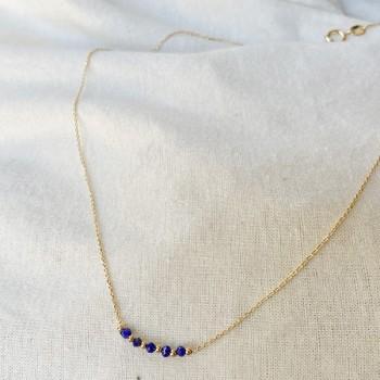 Collier sur chaine en plaqué or pierres fines lapis lazuli et perles - Bijoux fins et intemporels