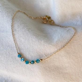 Bracelet sur chaine en plaqué or pierres fines apatite et perles - Bijoux fins et intemporels