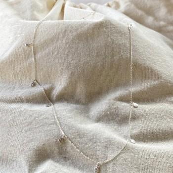 Collier chaine fine pampilles martelées en argent - Bijoux fins et intemporels