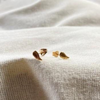 Boucles d'oreilles puce aile d'ange en plaqué or - Bijoux fins de créateur