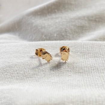 Boucles d'oreilles puce coiffe d'indien en plaqué or - Bijoux fins de créateur