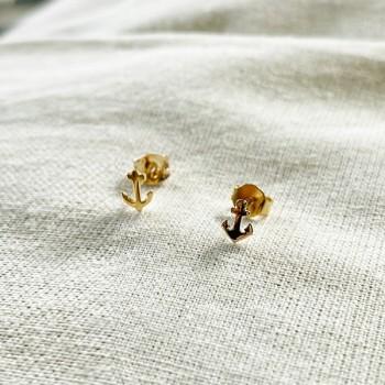 Boucles d'oreilles puce ancre marine en plaqué or - Bijoux fins de créateur