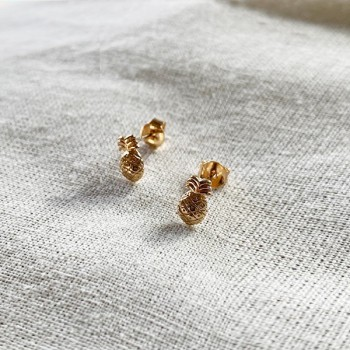 Boucles d'oreilles puce ananas en plaqué or - Bijoux fins de créateur