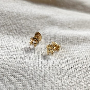 Boucles d'oreilles puce amoureux en plaqué or - Bijoux fins de créateur