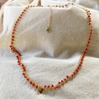 Collier India en plaqué or sur chaine perlée rouge et charms coeur - Bijoux fins et fantaisies