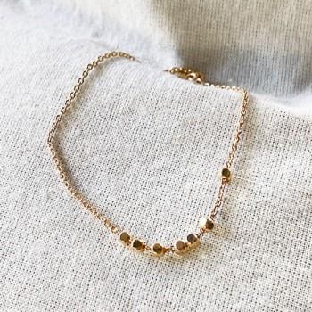 Bracelet sur chaine semainier 7 perles facettées en plaqué or - Bijoux fins et fantaisies