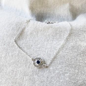 Bracelet chaine médaille martelée bleue en argent - Bijoux fins et originaux
