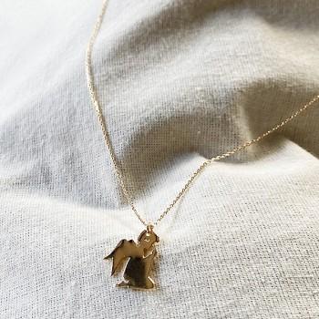 Collier pendentif en forme d'ange sur chaine en plaqué or - bijoux fins et fantaisies