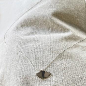 Collier pendentif en forme de nuage sur chaine en argent - bijoux fins et fantaisies