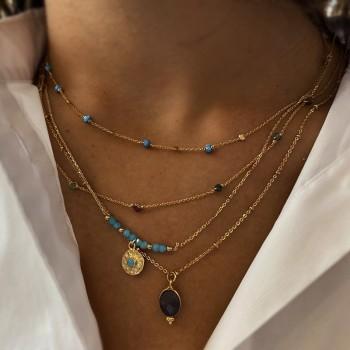 Collier sur chaîne perlée plaqué or médaille sertie silimanite bleue - Bijoux fins et fantaisies tendances
