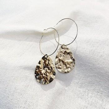 Boucles d'oreilles créoles pendantes grosses pièces gouttes martelées - Bijoux modernes