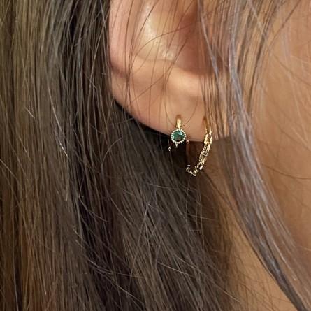 Boucles d'oreilles créoles en forme de chaine maillons rigides - Bijoux fins et modernes