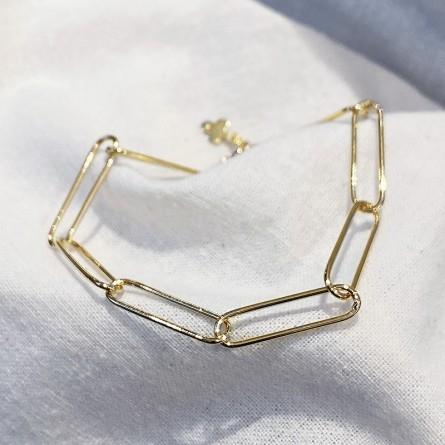 Bracelet à longs maillons fins en plaqué or - bijoux fins et tendances