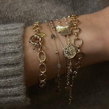 Bracelet à maillons ronds pendentif feuille de Ginkgo en plaqué or - Bijoux tendances