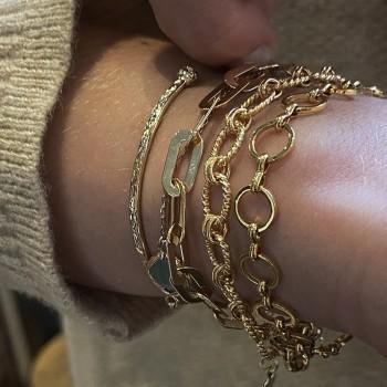 Bracelet à gros maillons plats épais en plaqué or - Bijoux tendances