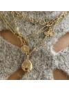 Collier à longs maillons fins et médaille ronde gravure étoile en plaqué or - bijoux fins et tendances