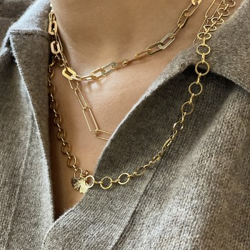 Collier à longs maillons fins en plaqué or - Bijoux fins et tendances