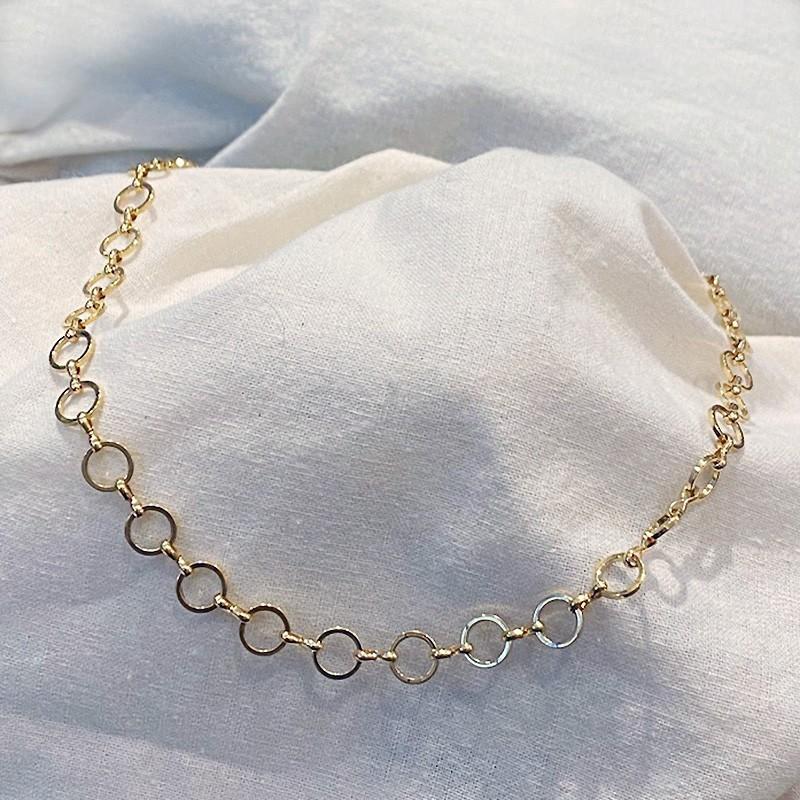Collier à grands maillons ronds en plaqué or - Bijoux modernes