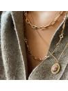 Collier à maillons longs ciselés en plaqué or gros mousqueton marin bouée - Bijoux tendance
