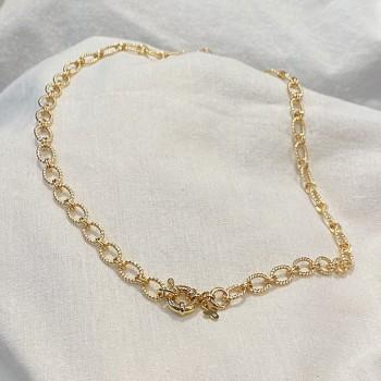 Collier à maillons ovale ciselés en plaqué or gros mousqueton marin bouée - Bijoux fins et intemporels