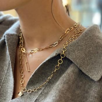 Collier à gros maillons plats épais en plaqué or - Bijoux tendances