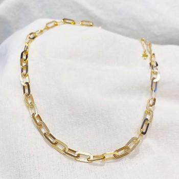 Collier à longs maillons plats en plaqué or - Bijoux tendances