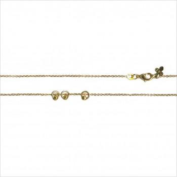 Collier sur chaine en plaqué or avec 3 petits anneaux perlés - Bijoux fins et fantaisies
