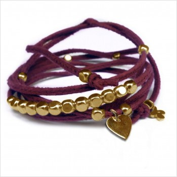 Mini charms coeur sur daim noué bordeaux perles en plaqué or - bijoux modernes - gag et lou - bijoux fantaisie