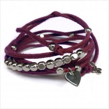 Mini charms coeur sur daim noué bordeaux perles en argent - bijoux modernes - gag et lou - bijoux fantaisie