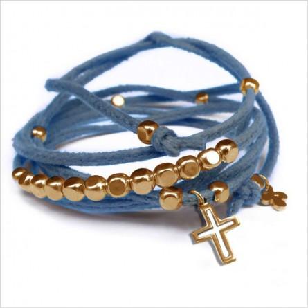 Mini charms croix sur daim noué jeans perles en plaqué or - bijoux modernes - gag et lou - bijoux fantaisie