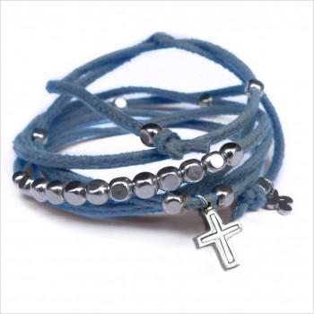 Mini charms croix sur daim noué jean perles en argent - bijoux modernes - gag et lou - bijoux fantaisie