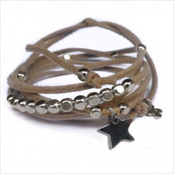 Mini charms étoile sur daim noué greige perles en argent - bijoux modernes - gag et lou - bijoux fantaisie